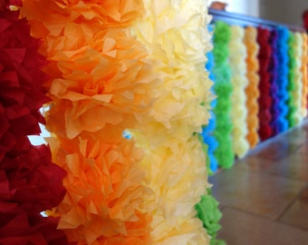 8 - Extra Small PuffScape CONNECTING DIY Tissue Paper Flower Pom Puffs Rainbow Wedding Party Banister Decoration- EVENTS Handmade by Dorana