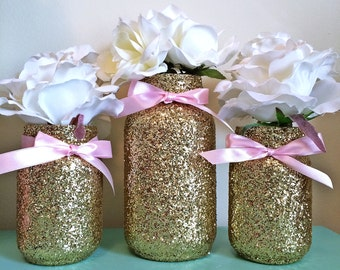 Mason Jars Pink Gold, baby shower ideas, baby shower decorations, wedding, wedding decorations, wedding centerpieces, party supplies, decor