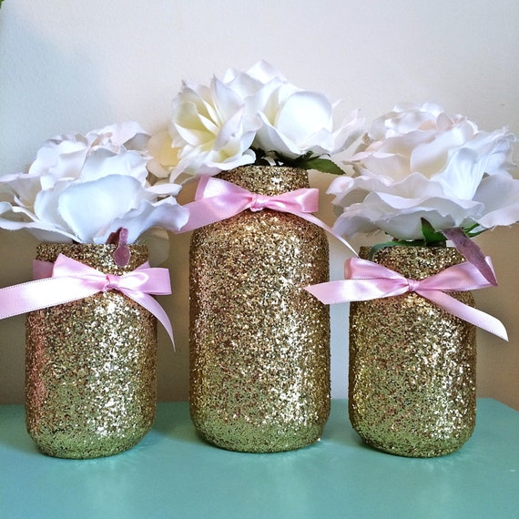 Mason jars pink gold baby shower ideas baby shower - Deco baby shower rose ...