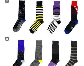 Build Your own 8-Pack Colorful Mens Socks Drawer, Men's Fashion Dress Socks, Men's Fun Socks, Gift Socks, Father's Day Gift, Free Shipping