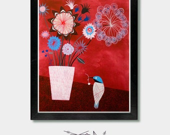 Flower Bouquet. That One Thing. Flower Wall Art, Baby Girl Gift, Paris Decor, Bird Prints, Flower Vase Painting, Floral Wall Art, Floral