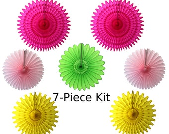 Cerise, Yellow, Pink, and Lime Tissue Paper Fan Decoration Kit (4, 7, or 8 fans, 13-21 inches)