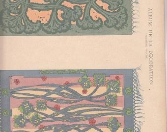 """Antique Art Nouveau Print  French Projets Pour Foyers Artist Bonvallet Album De La Decoration 10"""" X 14.5"""""""