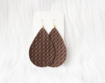 Embossed Brown Leather Drop Earrings, the leather drop