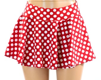 Red & White Polka Dot Print Circle Cut Mini Skirt Rave Clubwear EDM  151135