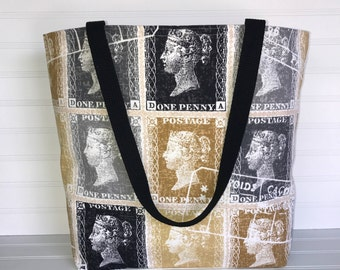 Queen Victoria Stamp Tote | Handmade Everyday Tote | Market Bag