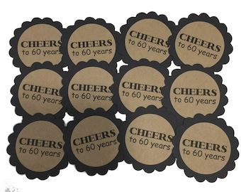 60th Birthday Favor Tags - Cheers to 60 Years, Black and Kraft Brown or Your Colors - Set of 12