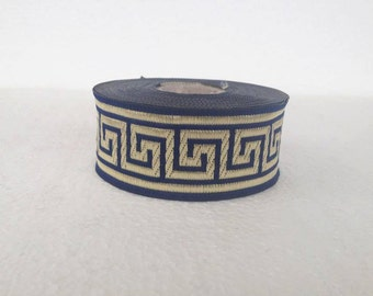 35mm navy blue greek key jacquard ribbon by the yard
