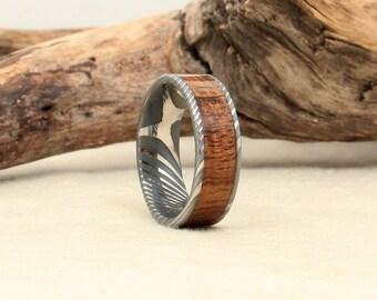 Damascus Steel and Wood Ring - Hawaiian Koa Wooden Ring