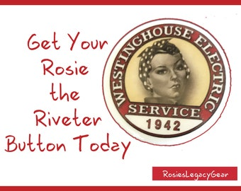 "Rosie the Riveter Button. Rosie the Riveter Pin. Rosie Lapel Pin. Rosie's ""We Can Do It!"" Poster. World War II Pinback. 40s vintage theme."