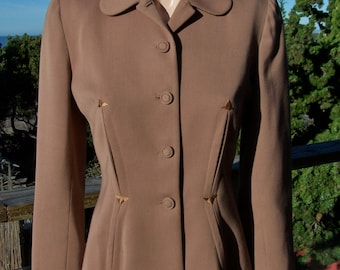40s, Jacket, Brown, blazer, tailored, nip waist, Fit and flare, custom, coat, M