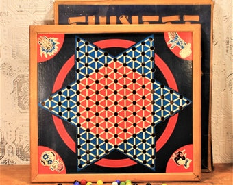 Chinese Checkers, Vintage Game Board, Checkers, Board Game, Vintage Board Game, Game Board, Games Room