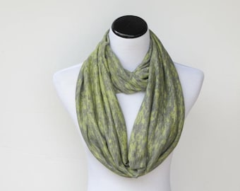 St.Patrick's Day Scarf Green Scarf Infinity Scarf Olive Green Saint Patrick Soft jersey knit scarf wrap scarf gray circle scarf loop scarf