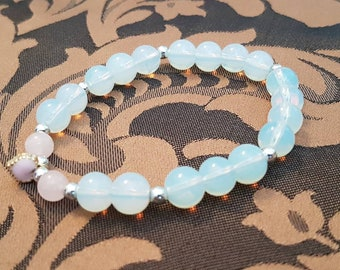 Opalite and Rose Quartz bracelet with heart charm