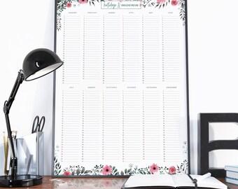 Birthdays calendar, Anniversaries calendar, Birthdays planner, Anniversaries planner, Birthdays calendar poster, Yearly Calendar, Monthly