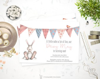 Printable Watercolor Rabbit and Bunting Invitation - Watercolor Party Invite -  Do it yourself Customizable Printable Invitation