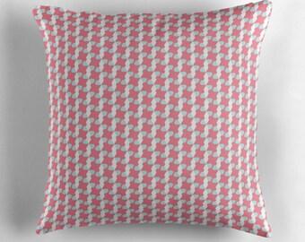 Geometric summer cushion, geometric cushion, geometric bedroom, pink cushion, zipped cushion, 40x40 cushion, filled cushion, throw pillow