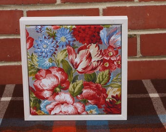 Vintage Floral Fabric in a Whitewashed Frame