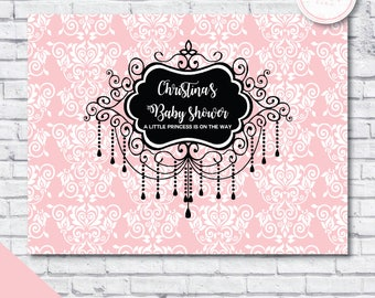 Baby shower backdrop - fashion baby shower backdrop - paris baby shower backdrop - girl shower backdrop - chandelier baby shower backdrop