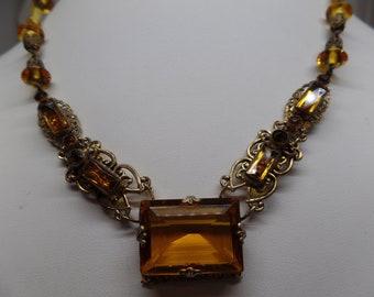 CZECHO Signed Citrine Crystal and Art Glass Filigree Necklace