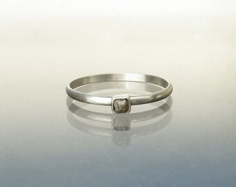 Raw Diamond Ring - Natural Diamond Cube Crystal in Recycled Silver Diamond Stack Ring