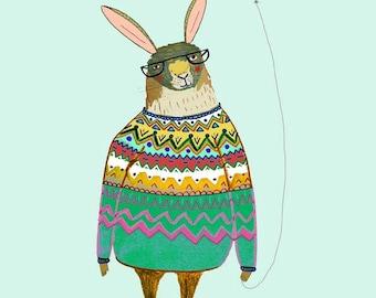 Rabbit with Balloon. rabbit wall art, illustration print, wall decor, kids art.