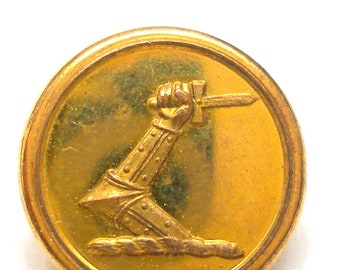 "1800s Livery BUTTON, Armored arm holding a dagger, 5/8"". Made in Birmingham."