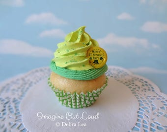 Fake Cupcake St. Patrick's Day Green Shamrock Lucky Charm Leprechaun Kitchen Decor Display Decoration