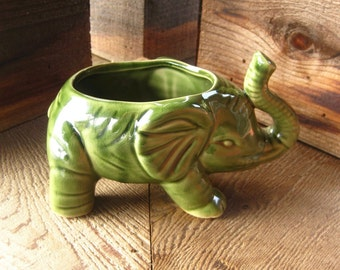 FREE SHIPPING! Vintage Pottery Elephant Planter, Desk Accessory, Trunk Up, Asian Pottery, Cottage Chic,