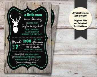 Little Man Baby Shower, Hunting Baby Shower, Deer Baby Shower, Lil Man Baby Shower Invitations, Chevron Shower, Digital File or Printed