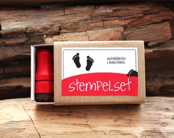 Mini Footprint Rubber Stamp // Set of 2 Mini Stamps