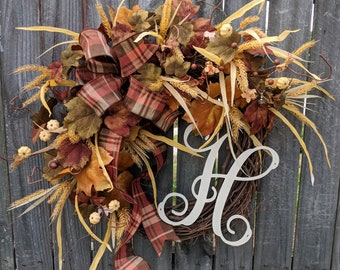 Fall Door Wreath, Muted Colors Fall Wreath, No Orange, Cream, Brown Green Fall Wreath, Cream Pumpkin