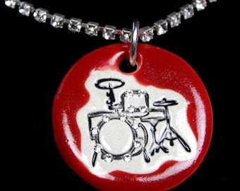 Drum Set Sparkle Surly Necklace with Swarovski Crystals