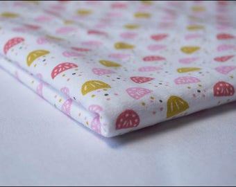 """Coupon 50 x 50cm fabric Jersey """"Juna coral / mustard"""""""
