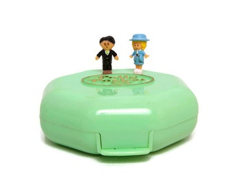 Vintage Polly Pocket Polly's School Polly Doll Mr Marks Pastel Mint Green Compact COMPLETE 1990 Bluebird Toys Octagon Case