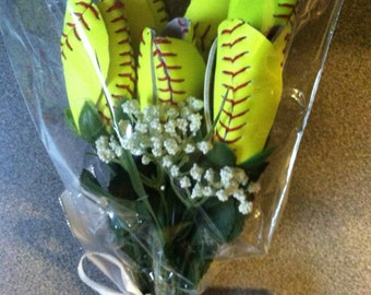 Bouquet of 6 Softball Flowers made from genuine leather softballs