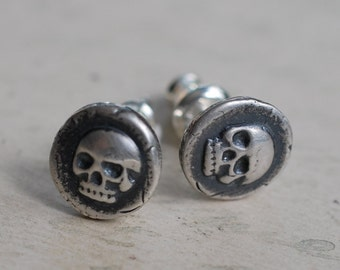skull earrings - skull studs - skull wax seal earrings - memento mori - antique wax seal jewelry