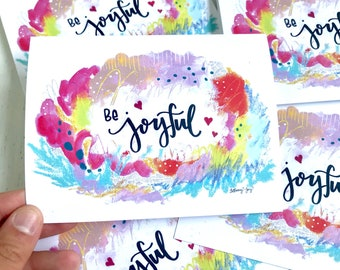 Be Joyful Greeting Cards / Pack of 2 Cards with Envelopes / Happy Greeting Cards / Colorful Folded Cards / Happy Mail