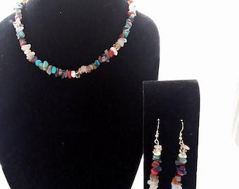 colorful necklace gemstones set,