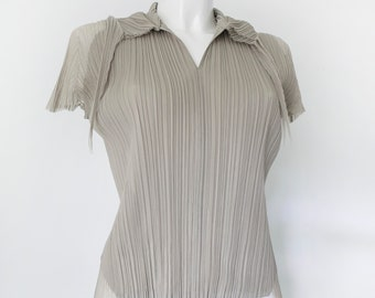 Please Pleats by Issey Miyake top with collar-Japanese Pleat Blouse