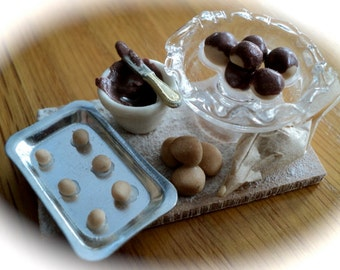 DOLLS HOUSE MINIATURES - 1/12th Making Chocolate Profiteroles