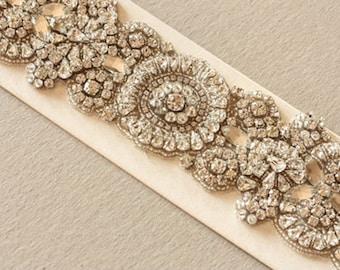 Crystal Bridal Sash - Voglia 29 inches  (Made to Order)