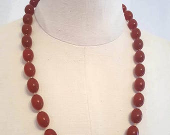 Vintage Russet Red Beaded Necklace