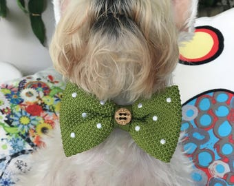 Dog Bow Tie, Dog, Apple Green, Adjustable, Green, Polka Dot, Silk, Bow Tie, Dog Scarf, Dog bandana, Puppy Bow Tie