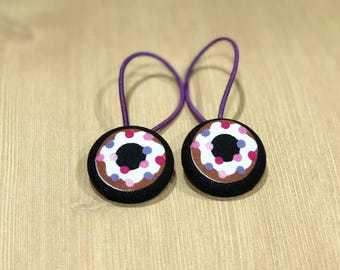 "1 1/8"" Size 45 Brown/Pink/Purple/Black Donut Fabric Covered Button Hair Tie / Ponytail Holder / Party Favor (Set of 2)"