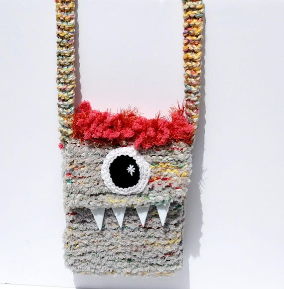 Silly Cyclops Hand Knit Bag - Grey and Coral