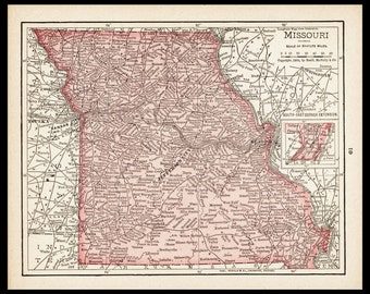 Small Missouri Map of Missouri State Map (Antique Wall Decor Print, 1900s Color Map, Vintage Wall Art) Old Atlas Map No. 61-2
