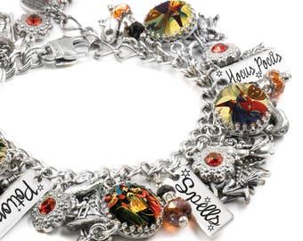 Halloween Charm Bracelet, Witch Bracelet, Witch Jewelry, Vintage Witch Images, Witch Silver Bracelet, Witches Charm Bracelet