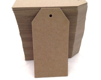 100 Count Tall Kraft Brown Chip Board Luggage Style Hang Tags
