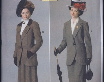 Butterick 6337 Misses Women's Edwardian Suffragette Downton Abbey Costume Suit Jacket Skirt UNCUT Sewing Pattern